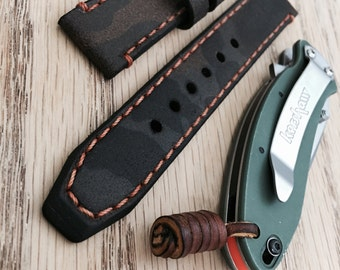 Handmade Double-Layered Camouflage Military Genuine Leather Vintage Watch Band / strap