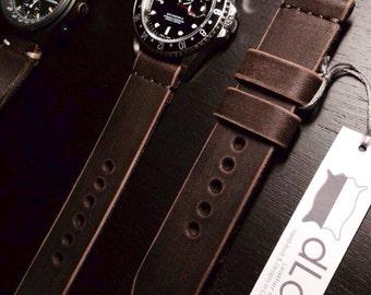 22mm Dark brown Handmade Genuine Leather vintage Watch Band / strap with stitch