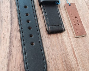 18/20/22/24 mm Dk Brown Handmade Genuine Leather Watch Band / Strap with Stitch