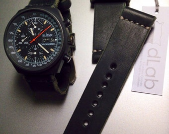 24mm Black Handmade Genuine Leather vintage Watch Band / strap with stitch