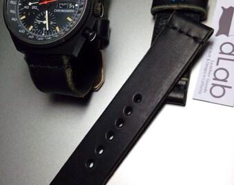 22mm Black Handmade Genuine Leather vintage Watch Band / strap with stitch