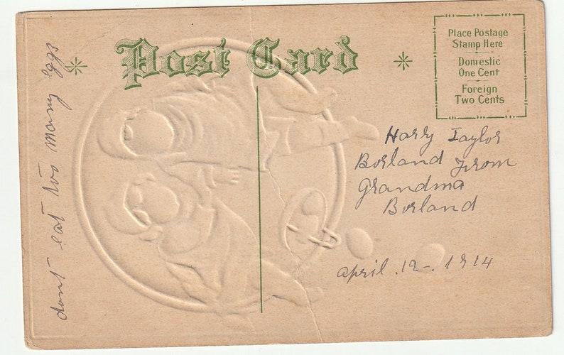 Vintage Postcard Children Easter Eggs Embossed Unused