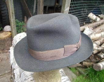 Original Vintage 1940s WW2 Trilby Hat - Fantastic Condition ! - Charcoal Grey