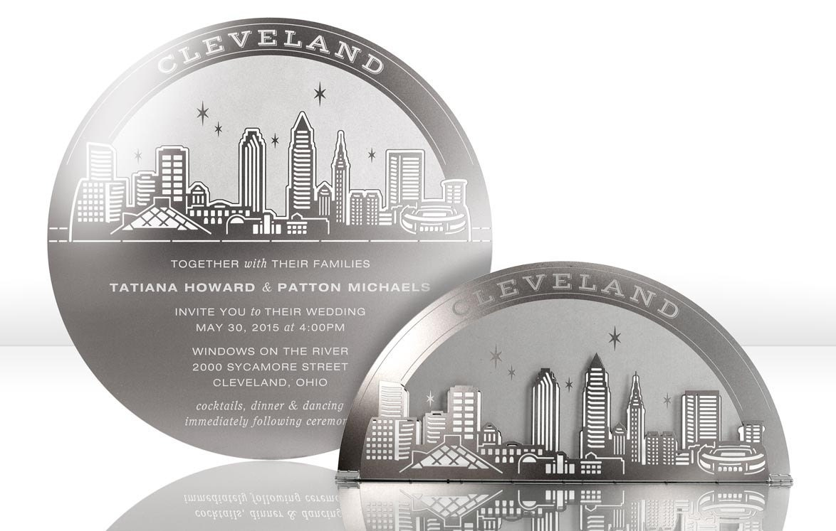 Wedding Invitations Cleveland: Metal Wedding Invitation Of Cleveland Skyline: Stainless