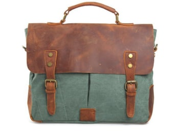 Genuine Leather and Canvas Bag