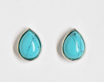 925 silver studs with turquoise