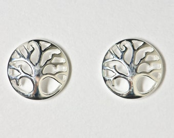Silver earstud Tree of life size 10mm