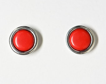 925 Silver Earrings Red Coral and Silver