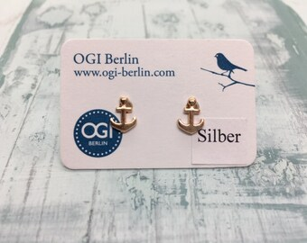 Studs anchor rose gold plated silver 6 mm