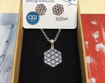 SET Necklace and Earrings Silver Flower of Life