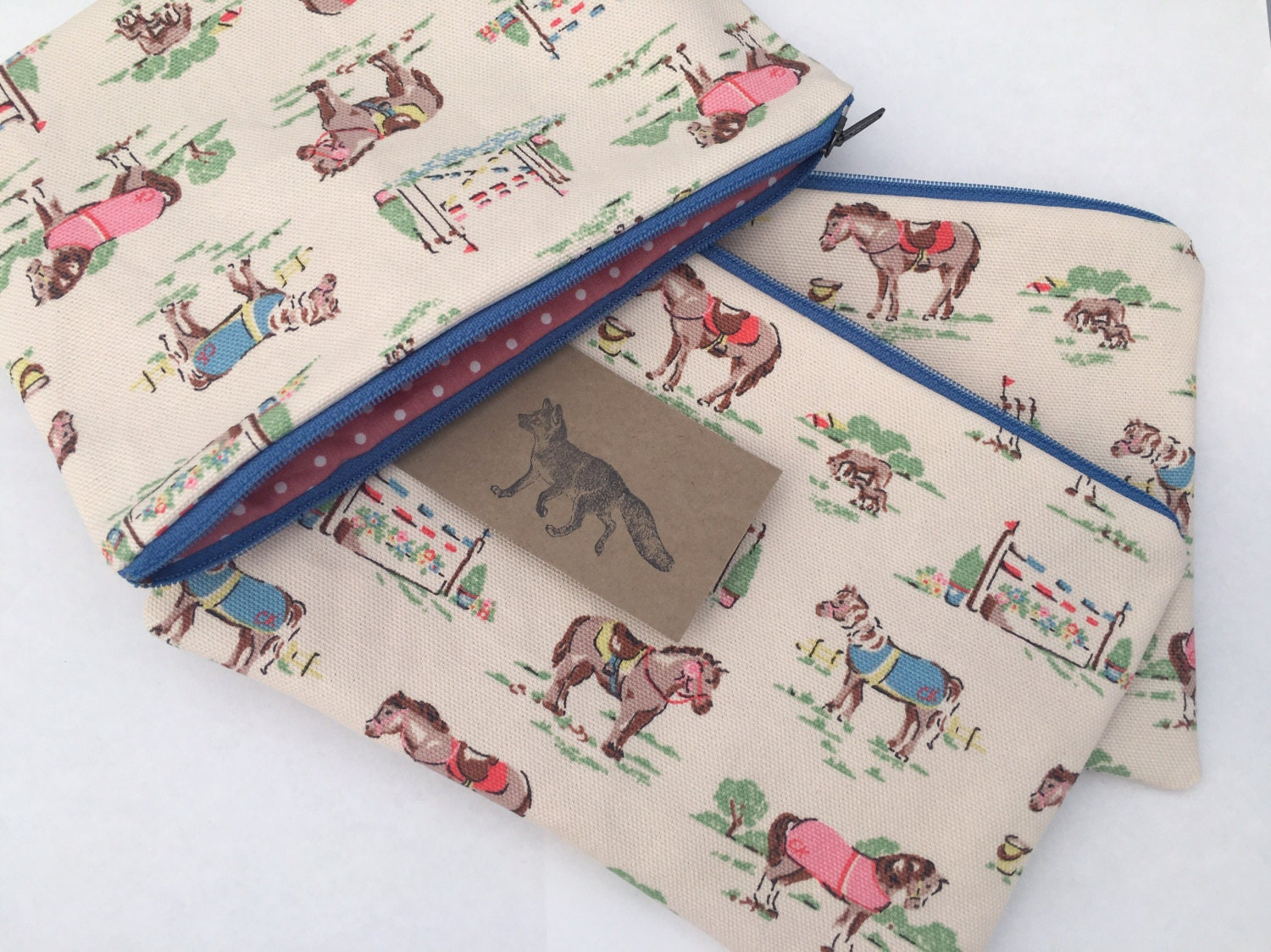 large make up bag cath kidston pony design handmade and etsy. Black Bedroom Furniture Sets. Home Design Ideas