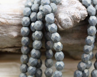 50pcs 6mm Pacifica Poppy Seed Faceted Round Fire Polished Czech Glass Beads fabulous Golden shimmer finished beads