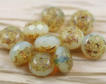 10pcs 14x9mm Opal Jonquil Picasso Chunky Gemstone Cut Rondell Czech Glass Beads