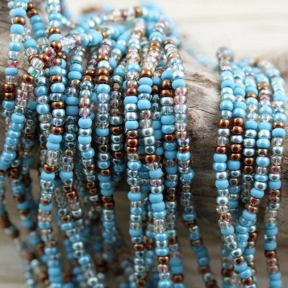 11 Strands Summer Glass Seed Bead Mix Turquoise Green Aqua Tan Beige Beading Jewelry Making Craft Supplies