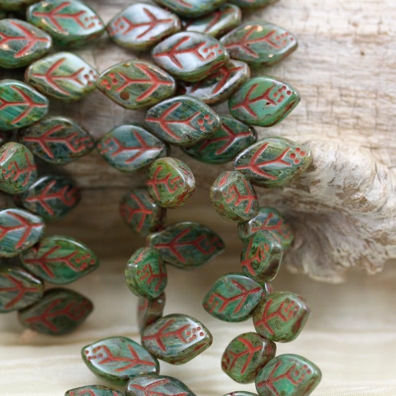 45pcs!! NEW!! earthy colors 12X7mm Opal Aqua  Green swirl Picasso Leaves Czech Glass Beads