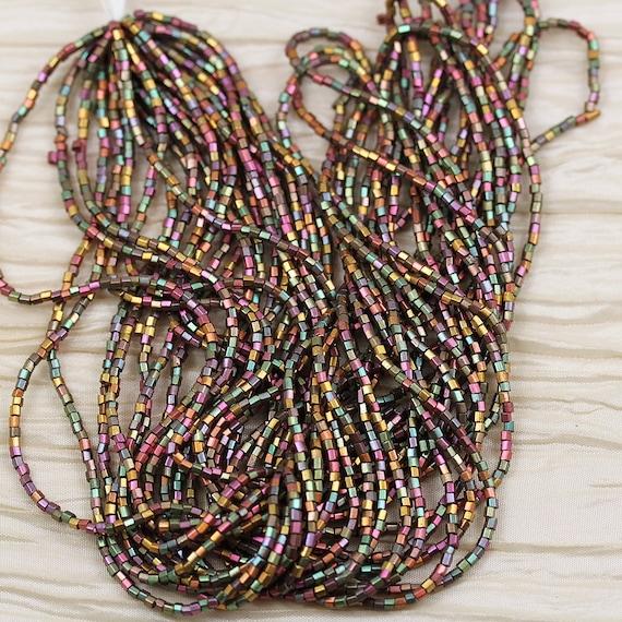"""12//20/"""" NEW!! 1 hank! 8//0 2Cut Silky Metallic Gold Iris AB Czech seed beads"""