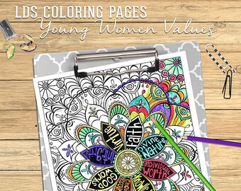 LDS Coloring Page Young women values faith divine nature individual worth knowledge choice and accountability good works integrety virtue