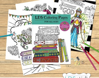 23 LDS Adult Coloring Book Pages BUNDLE Set Of Hand Drawn