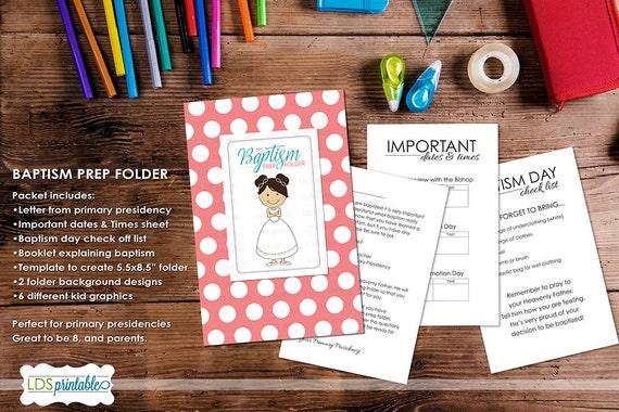 LDS Baptism Preparation Workbook Folder for Girls