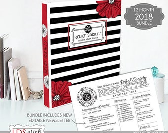 LDS Relief Society Binder Cover Bundle 2018 editable newsletter