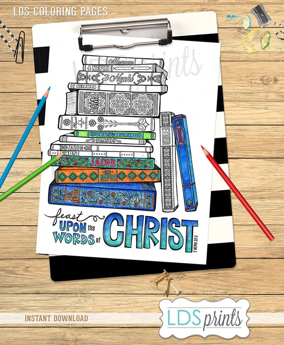 LDS Adult Coloring Pages Feast Upon The Words Of Christ Book
