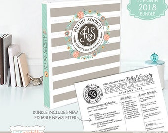 LDS Relief Society Binder Cover and planner set for 2018 BUNDLE