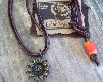 Flower Leather Choker Women's Necklace Hippie Jewelry Boho Necklace