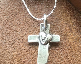 Cross Necklace Sterling Silver Cross with heart Christian Jewelry