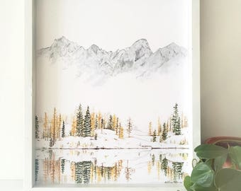 Winter Print, Mountain Print, Evergreen art, Forest Print, Mountain Painting, Nature Print, Landscape Print, The Enchantments, Mountain Art