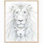 Lion and Lamb Art, Lion and Lamb Print, Peace Art, Lion Print, Lamb Print, Christian Print, Jesus Print, Nursery Print, Scripture Print