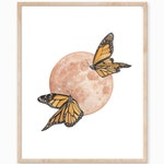 Monarch Butterfly Print, Monarch Art, Butterfly and Moon Print, Brown Moon Print, Warm Tone Moon, Dreamy Moon Print, Neutral Boho Art