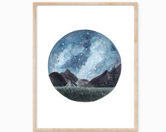 Camping Print, Night Sky Print, Camp Painting, Mountain Art, Night Sky Painting, Camping Painting, Adventure Print, Outdoor Art, Landscape