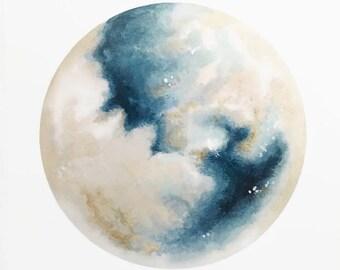 Blue Moon Print, Moon Painting, Moon Art, Lunar Artwork, Boho Decor, Space Print, Indie Decor, Boho Print, Full Moon, Moon Decor, Space Art