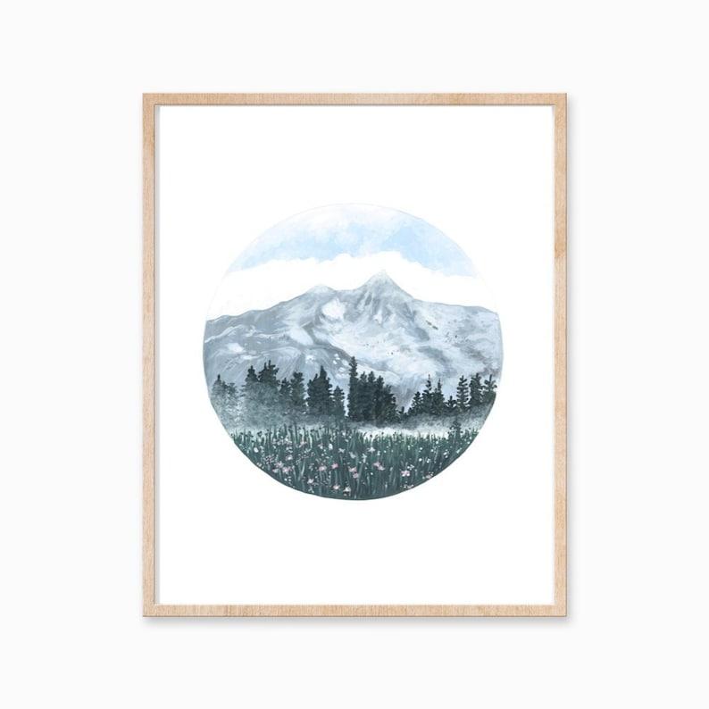 Mountain Print Mountain Art Mountain Painting Landscape image 0