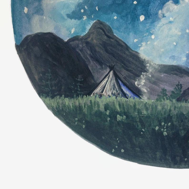 Camping Print Night Sky Print Camp Painting Mountain Art ...