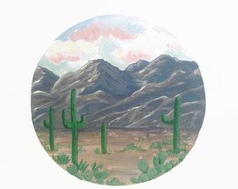 Desert Print, Desert Art, Desert Landscape, Nature Print, Cactus Print, Mountain Print, Cactus Painting, Cactus Art, Boho Decor, Pastel