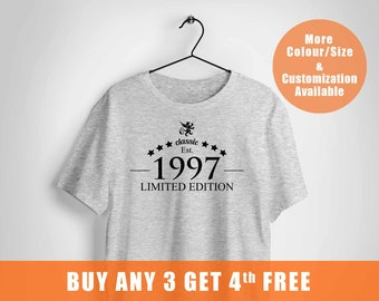 21 Years Old Birthday Shirt For Male And Female1997 Limited Edition Shirtcustom Giftpersonalized Party Tshirt