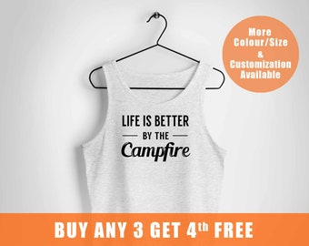 Life is Better by the Campfire is My Camping vest,Camping Camp Hike Outdoors Gift,Campfire vest,Camper Tees,Fast shipping to USA UK Europe,,