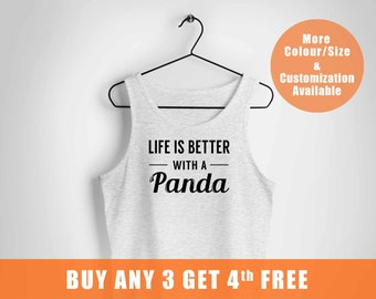 Cute Panda Ladies vest,Panda Bear Birthday Gifts Idea,Kawaii Kung Fu Panda Top,Life is Better with a Panda Funny vest,Fast Shipping to US,,