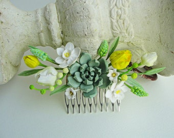 268c5a08f462 Narcisi a Giglio bianco della valle tulipani succulente primavera capelli  pettine