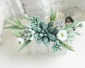 Green succulent Eucalyptus White rose hairpiece Eucalyptus hair comb Succulent Bridesmaid Personalized Gift Succulent wedding gift