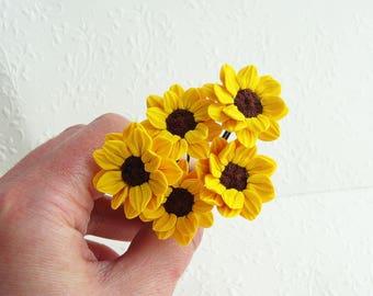 Yellow flower pin etsy bridal bridesmaid sunflower hair pin 1 pc yellow hairpin yellow flower hair pin wedding hair flower bridesmaid hair accessory sunflower mightylinksfo