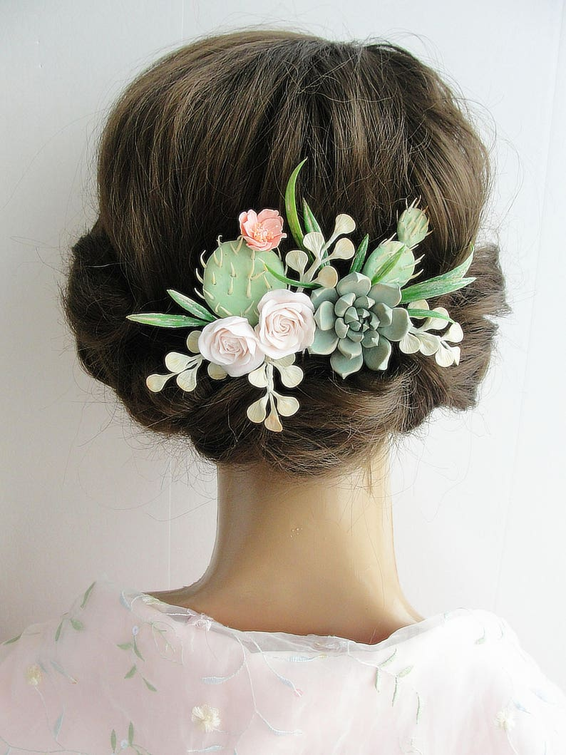 Cactus Wedding Accessories Peach Nude Green Succulent Flower Hair Comb bridal accessory Nude Green Wedding Comb nude green floral comb