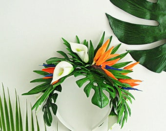 Lush Tropical Flower Crown, Bird of Paradise Tropical leaves wedding, orange tropical floral crown, Tropical leaves wedding, Monstera crown