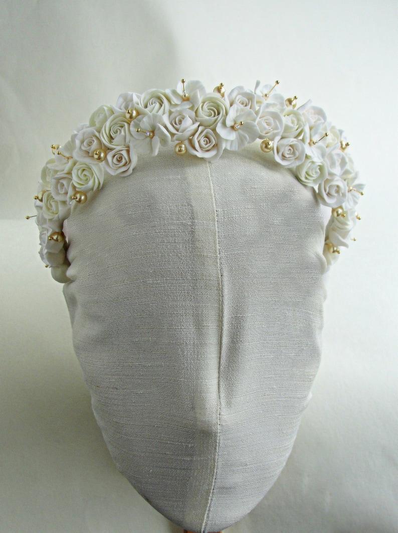 Ivory Gold Bridal Tiara Ivory Gold Wedding Headpiece Gold Flower Crown Ivory Gold Flowers Wedding Tiara Ivory Flowers Gold Wedding Crown