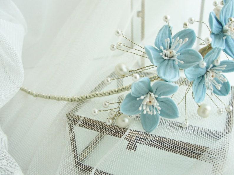 Blue Flowers White Pearls Wedding Crown Blue White Bridal Tiara Blue White Gold Wedding Headpiece Blue White Gold Flowers Wedding Tiara