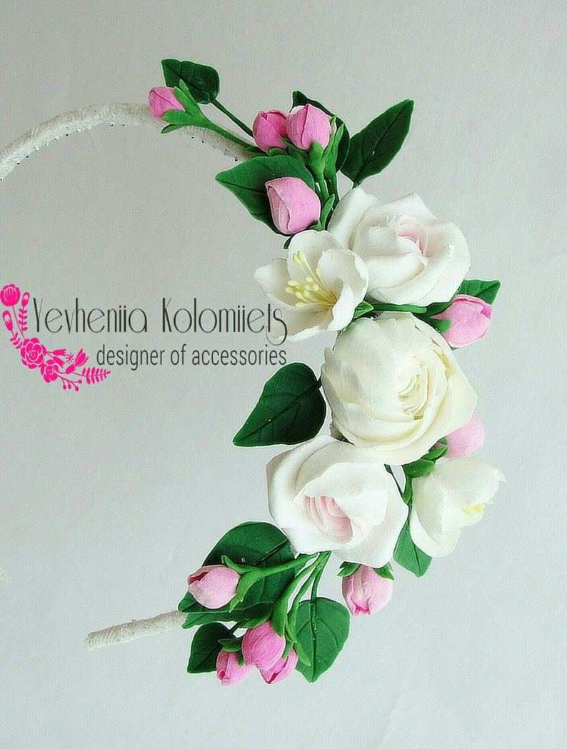 spring wedding crown ivory flowers crown pink ivory green wedding Spring wedding floral headband pink hair wedding accessories