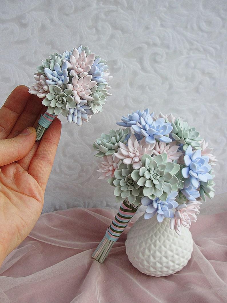 Blush Succulent Wedding Bouquet Replica Wedding Anniversary Gift Personalized Bouquet Miniature Clay Bouquet Glass Dome Custom Wedding Gift