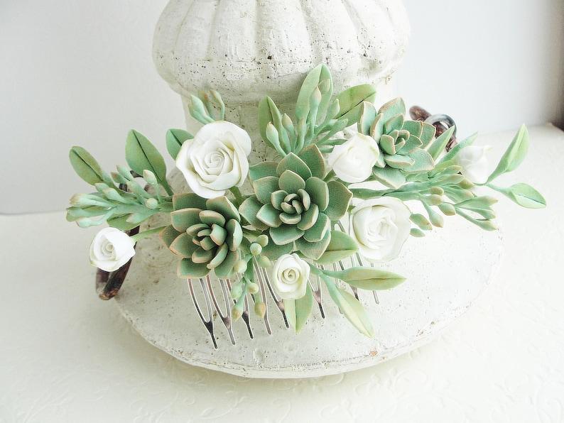 ivory mint floral comb Ivory Peach Green Succulent Flower Hair Comb plants arrangement Succulent gift succulent accessory Wedding Comb