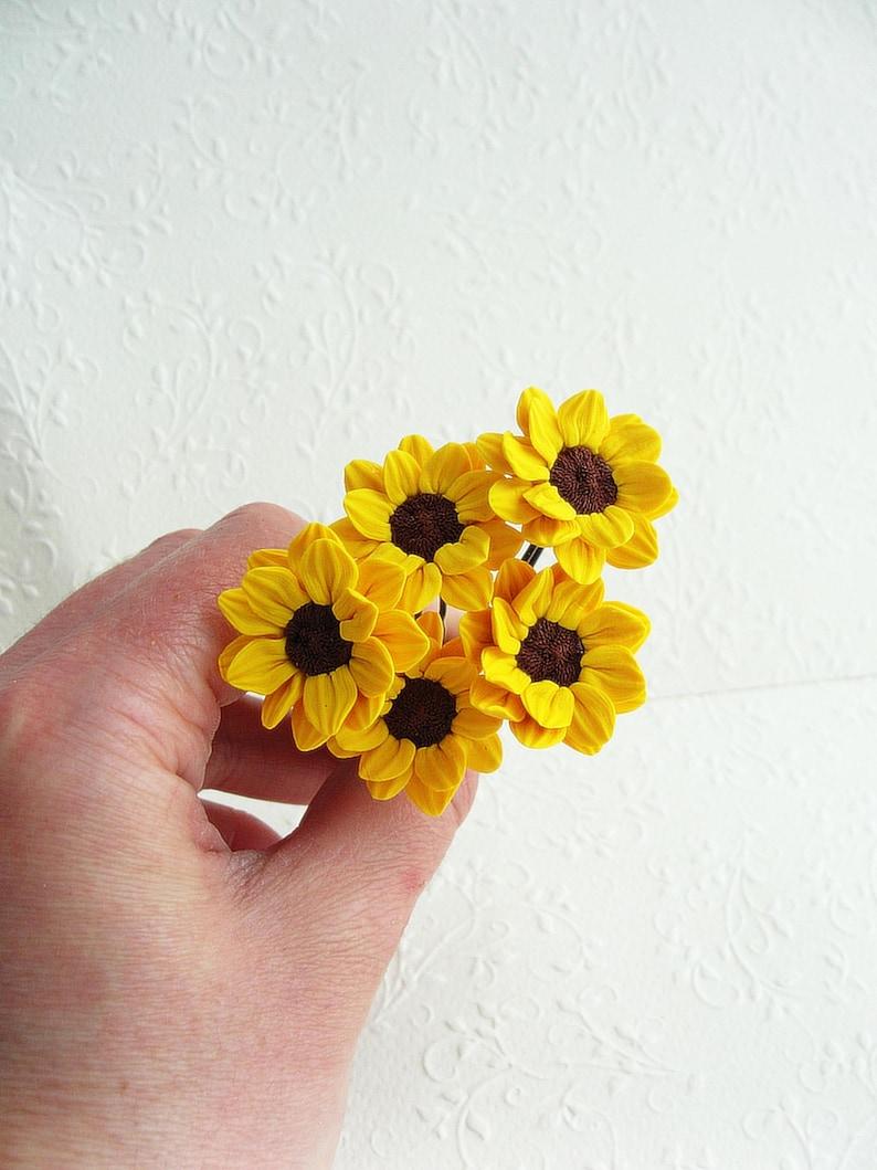 2cd891032d81b Bridal Bridesmaid Sunflower Hair Pin, 1 pc Yellow Hairpin, Yellow Flower  Hair Pin, Wedding Hair Flower, Bridesmaid Hair Accessory, sunflower